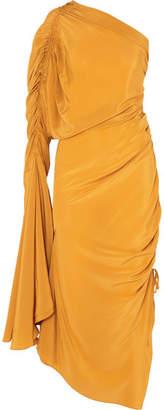 SOLACE London Remi Ruched Silk Crepe De Chine Dress - Gold