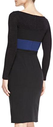 Black Halo Liam Long-Sleeve Colorblock Sheath Dress