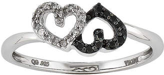 Black Diamond FINE JEWELRY 1/10 CT. T.W. White and Color-Enhanced Double Heart Ring