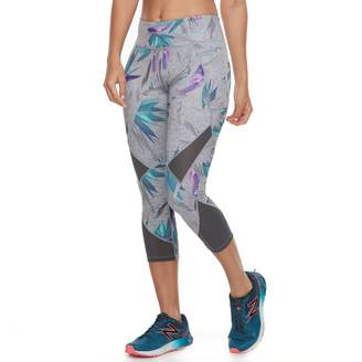Tek Gear Women's Performance Pieced Mesh Midrise Capri Leggings