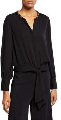 Kobi Halperin Holly Embellished Collar Long-Sleeve Silk Blouse w/ Tie-Front Hem