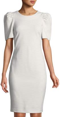 Iconic American Designer Puff-Sleeve Striped Sheath Dress