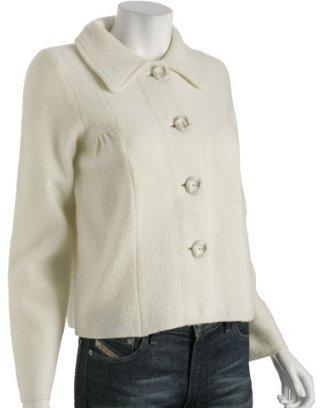 CeCe ivory wool cropped swing jacket