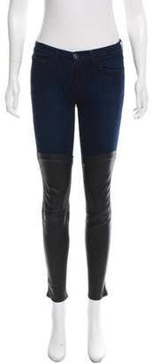 J Brand Leather-Accented Mid-Rise Jeans