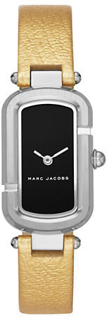 Marc Jacobs Marc Jacobs Silvertone Stainless Steel and Metallic Leather Two-Hand Analog Watch