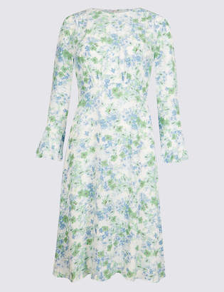 Limited Edition Floral Print Long Sleeve Tea Dress