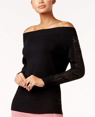 Thalia Sodi Off-The-Shoulder Crochet-Trim Sweater, Created for Macy's