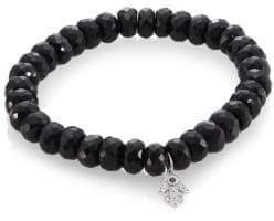 Sydney Evan Black Spinel, Diamond, Sapphire& 14K White Gold Rondelle Hamsa Bracelet