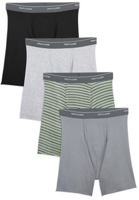 Fruit of the Loom Men's Dual Defense Support Pouch Assorted Boxer Briefs, 4 Pack, Extended Sizes