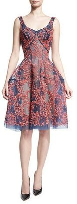 Zac Posen Beaded Tulle Sleeveless Fit-&-Flare Dress, Coral $6,990 thestylecure.com