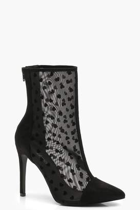 boohoo Heart Mesh Pointed Toe Shoe Boots