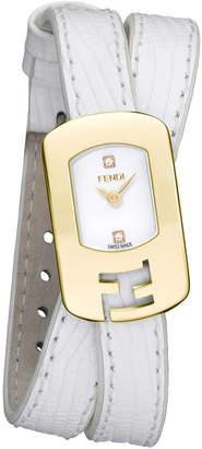 Fendi Chameleon 2-Diamond Watch w\/ Leather Strap Gold\/White
