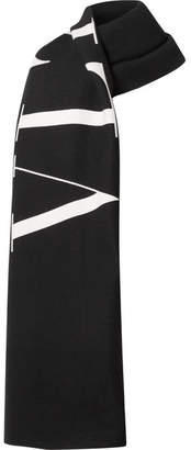 Valentino Reversible Printed Wool And Cotton-blend Twill Scarf - Black