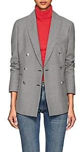 Barneys New York Women's Houndstooth Wool-Mohair Double-Breasted Blazer - Black