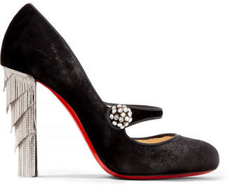 Christian Louboutin Rex 100 Embellished Velvet Mary Jane Pumps - Black