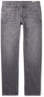 Brunello Cucinelli Washed Selvedge Denim Jeans - Gray