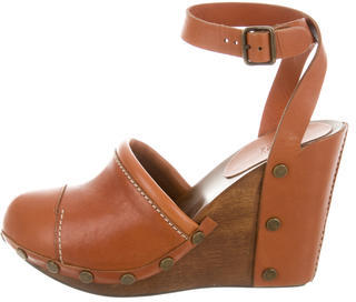 See By Chloe See by Chloé Leather Round-Toe Wedges