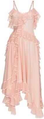 Alexander McQueen Asymmetric ruffled silk gown