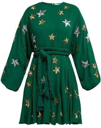 Rhode Resort - Ella Star Embellished Chiffon Crepe Dress - Womens - Green