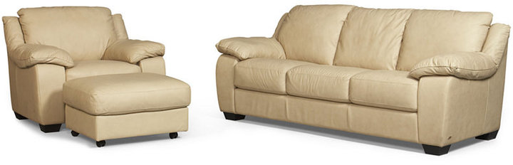 Blair Leather Living Room Furniture, 3 Piece Set (Full Sleeper Sofa Bed, Chair and Ottoman)