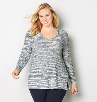 Avenue Marled Mixed Stitch Pullover