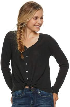 Mudd Juniors' Waffle-Knit Button Front Long Sleeve Top