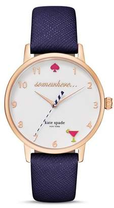 Kate Spade 5 O'Clock Somewhere Leather Strap Watch, 34mm