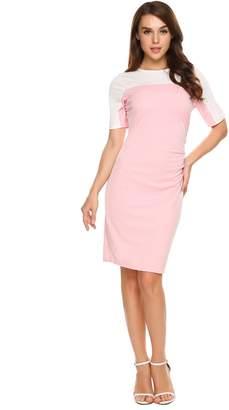 ANGVNS Women's Slim Fit Asymmetrical Package Hip Cocktail Party Oblique Pencil Dress
