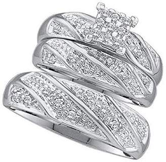 2heart His & Hers 1/3 ct Diamond 14k White Gold Fn Princess Shape Trio Wedding Ring Set