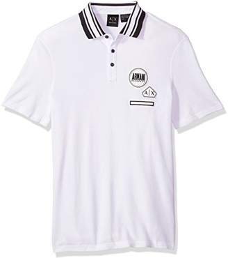 Armani Exchange A|X Men's Pique Polo with Knit Collar and Patch Details
