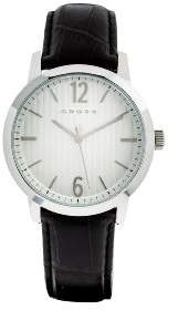 Cross Watch Men's Quartz Watch with Silver Dial Analogue Display and Black Leather Strap CR9013-02