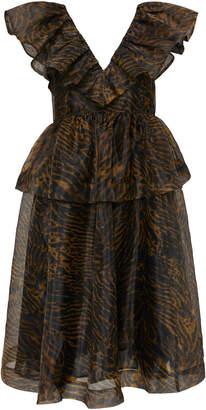 Ganni Ruffled Printed Organza Dress