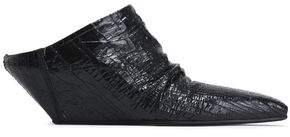 Rick Owens Textured-Leather Wedge Mules