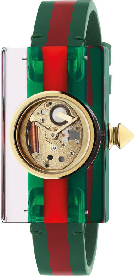 Gucci Plexiglas watch with green and red Web, 24x40mm