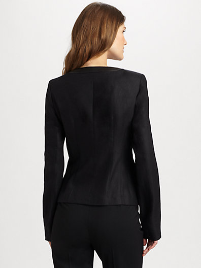 Lafayette 148 New York Leather-Trim Neve Jacket