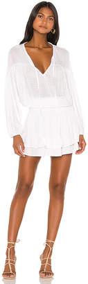 Indah Sashi Solid Blouson Mini Dress