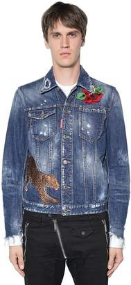 DSQUARED2 Leopard Patch Cotton Denim Jacket