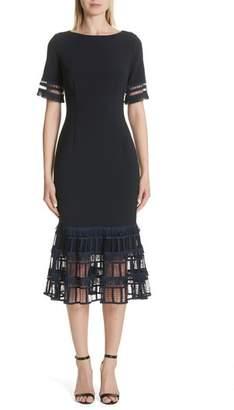 Lela Rose Fringe Flare Hem Sheath Dress