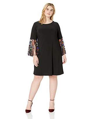 MSK Women's Plus Size Embroidered Bell Sleeve Dress with a Floral Motif