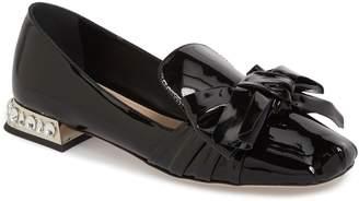 Miu Miu Embellished Heel Bow Loafer