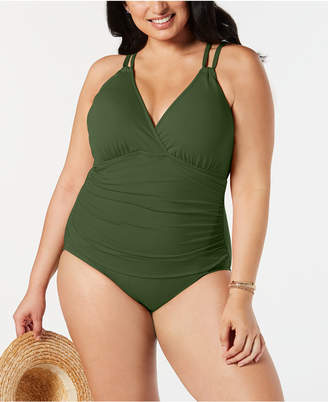 LaBlanca La Blanca Plus Size Solid Surplice One-Piece Swimsuit Women's Swimsuit