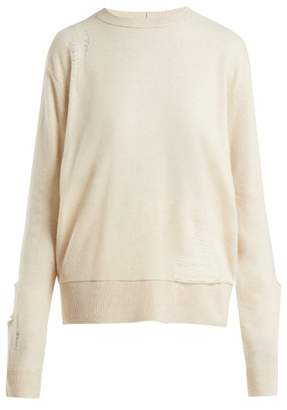 Helmut Lang Wool Shredded Knit Sweater - Womens - Light Pink