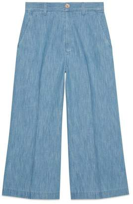Gucci Embroidered denim culotte pant