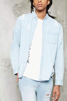 Forever 21 Slim-Fit Distressed Denim Shirt