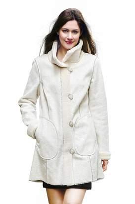 Lush Adelaqueen Women's Faux Suede Faux Fur Coat Floral Print Reversible Coat Size M