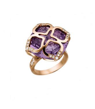 Turner & Tatler 18k Old European Diamond & Amethyst Ring, Size 6.5