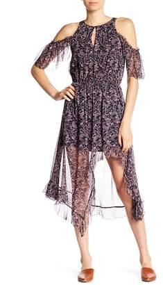 Joie Agnek Cold Shoulder Front Slit Silk Dress