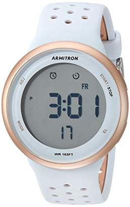 Armitron Sport Unisex 40/8423PBL Digital Chronograph Rose Gold-Tone and Powder Blue Perforated Silicone Strap Watch