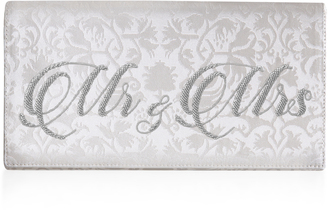 Preciously Paris Mr & Mrs Jacquard Silk Clutch