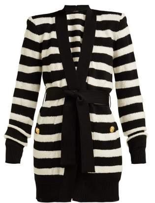 Balmain Intarsia Striped Cardigan - Womens - Black Stripe